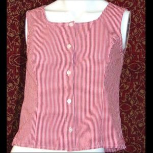 STYLE & CO Red check cotton sleeveless blouse 4P